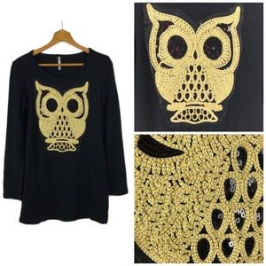 Star Tree Black Owl Sequin Embroidered Sweater M